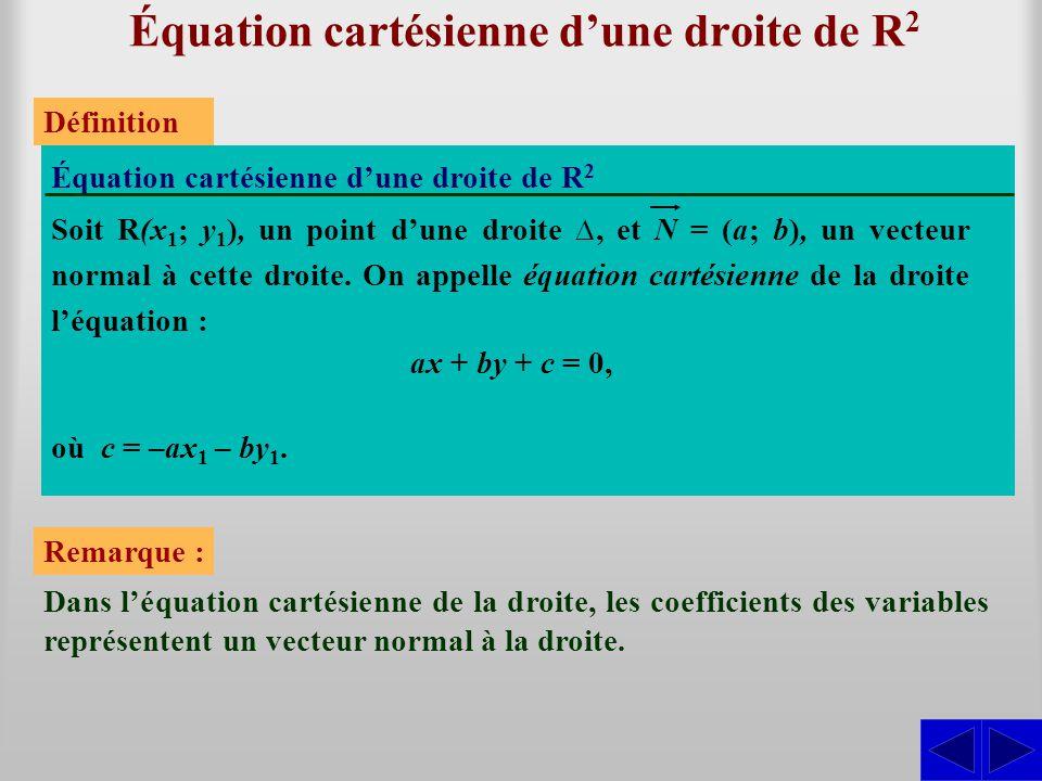 Équation cartésienne d'une droite de R 2 Équation cartésienne d'une droite de R2R2 Définition Soit R(x 1 ; y 1 ), un point d'une droite ∆, et N = (a; b), un vecteur normal à cette droite.