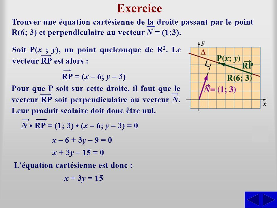 Exercice Trouver une équation cartésienne de la droite passant par le point R(6; 3) et perpendiculaire au vecteur N = (1;3).