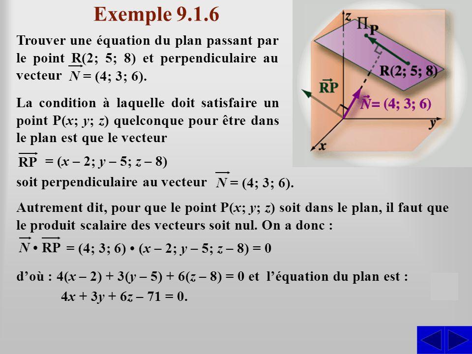 Exemple 9.1.6 Autrement dit, pour que le point P(x; y; z) soit dans le plan, il faut que le produit scalaire des vecteurs soit nul.