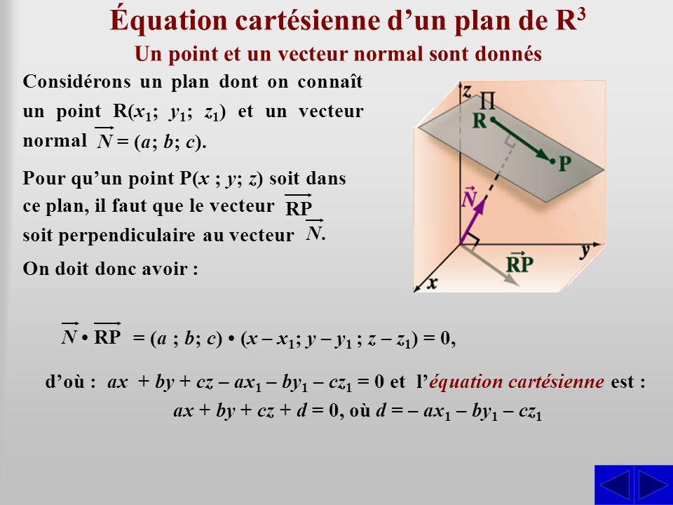 Équation cartésienne d'un plan de R3R3 N • RP d'où : ax + by + cz – ax 1 – by 1 – cz 1 = 0 et l'équation cartésienne est : ax + by + cz + d = 0, où d = – ax 1 – by 1 – cz 1 Un point et un vecteur normal sont donnés On doit donc avoir : = (a (a ; b; c) • (x – x 1 ; y – y 1 ; z – z 1 ) = 0, Considérons un plan dont on connaît un point R(x 1 ; y 1 ; z 1 ) et un vecteur normal N = (a; b; c).
