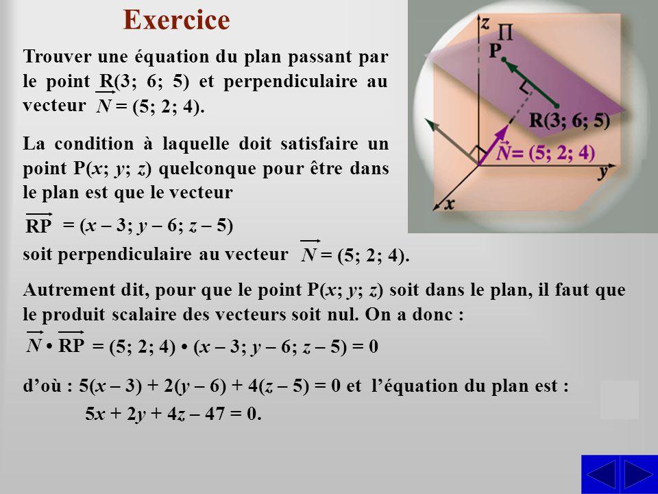 Exercice Autrement dit, pour que le point P(x; y; z) soit dans le plan, il faut que le produit scalaire des vecteurs soit nul.