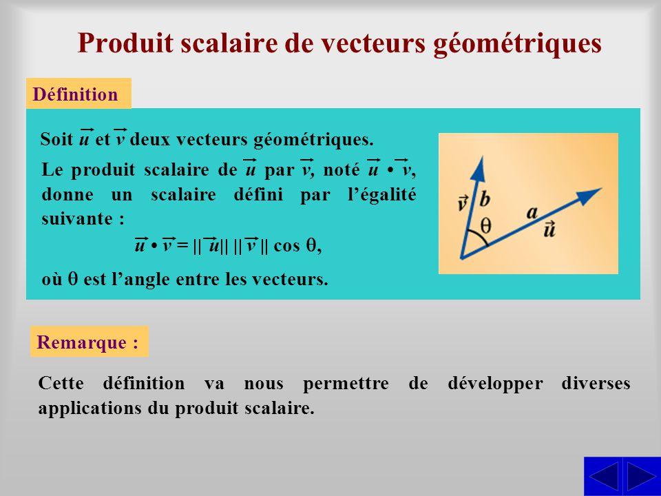 Produit scalaire de vecteurs géométriques Définition Soit u et v deux vecteurs géométriques.