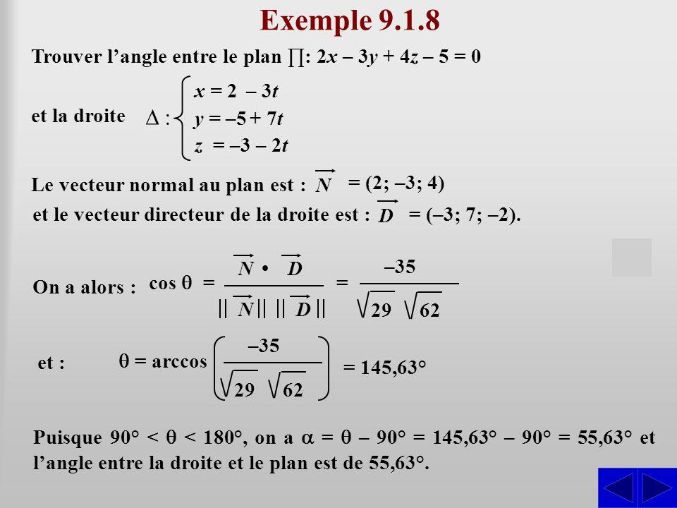 Exemple 9.1.8 Le vecteur normal au plan est : SS = (2; –3; 4) N Trouver l'angle entre le plan ∏: 2x – 3y + 4z – 5 = 0 et la droite ∆ : x = 2 – 3t y = –5 + 7t z = –3 – 2t et le vecteur directeur de la droite est : = (–3; 7; –2).