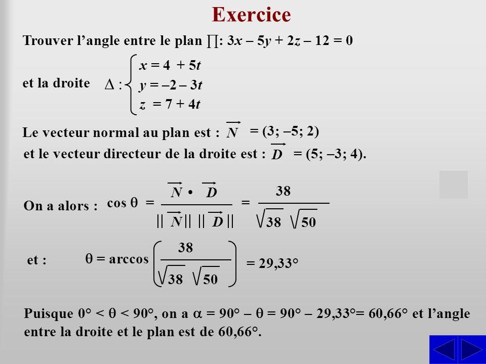 Exercice Le vecteur normal au plan est : S = (3; –5; 2) N Trouver l'angle entre le plan ∏: 3x – 5y + 2z – 12 = 0 et la droite ∆ : x = 4 + 5t y = –2 – 3t z = 7 + 4t et le vecteur directeur de la droite est : = (5; –3; 4).