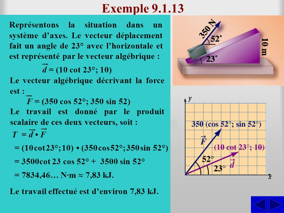 Exemple 9.1.13 On veut monter le bloc illustré ci- contre en le tirant avec une force de 350 N faisant un angle de 52° avec l'horizontale.