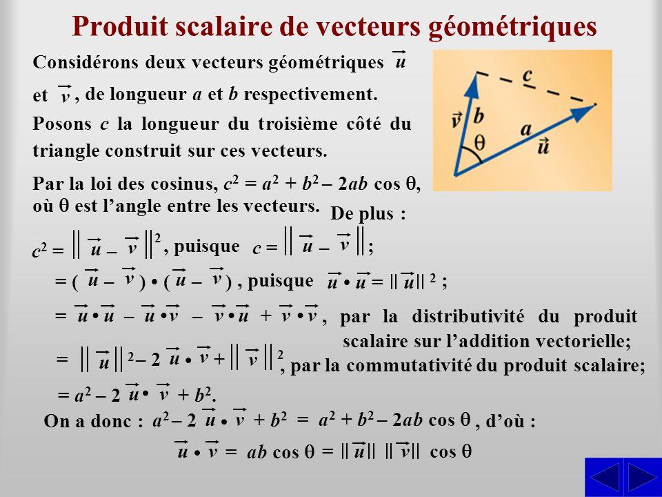 , puisque ; c = u v – Produit scalaire de vecteurs géométriques Considérons deux vecteurs géométriques u et v, de longueur a et b respectivement.