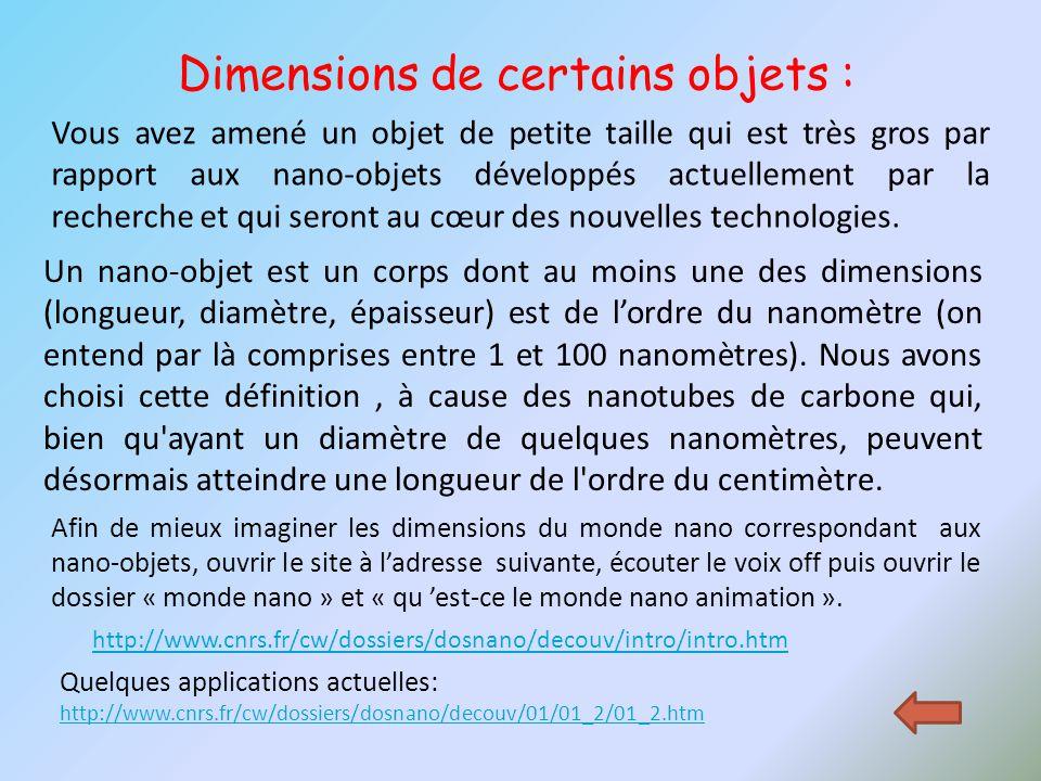 http://www.cnrs.fr/cw/dossiers/dosnano/decouv/intro/intro.htm Dimensions de certains objets : Vous avez amené un objet de petite taille qui est très g