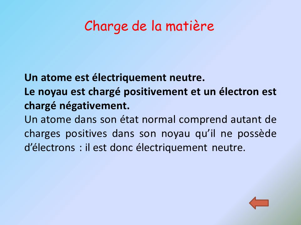 Un atome est électriquement neutre. Le noyau est chargé positivement et un électron est chargé négativement. Un atome dans son état normal comprend au