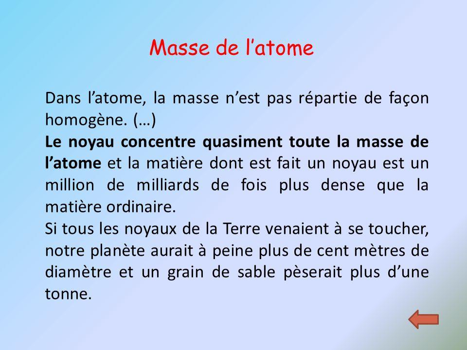 Dans l'atome, la masse n'est pas répartie de façon homogène. (…) Le noyau concentre quasiment toute la masse de l'atome et la matière dont est fait un