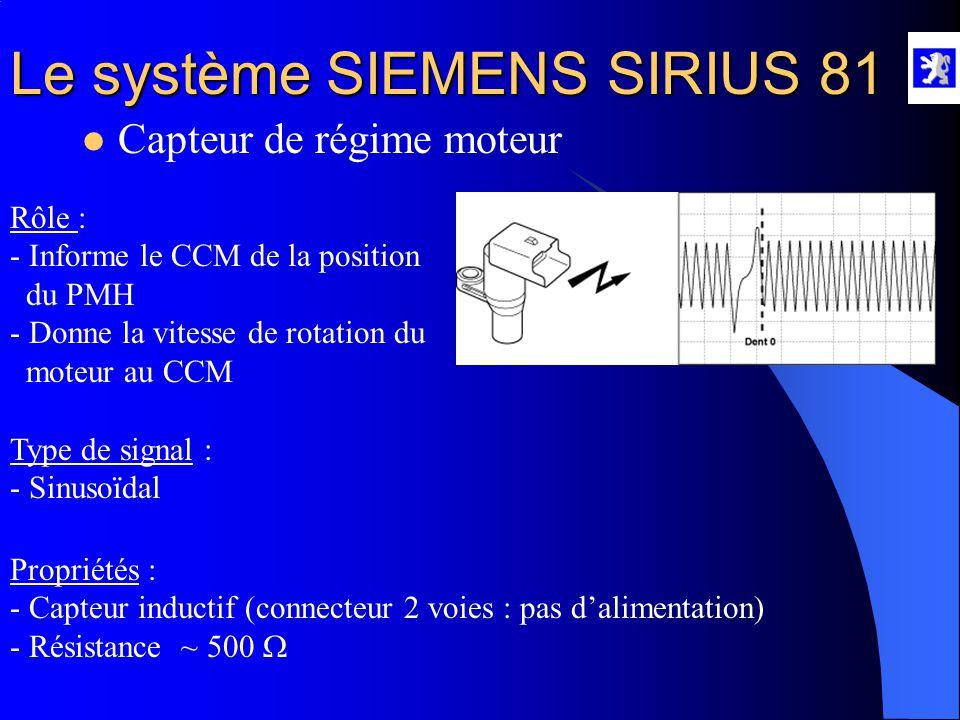 Le système SIEMENS SIRIUS 81  Capteurs de pédale d'accélérateur A l'aide du diag 2000 : - Menu mesures paramètres, alimentation des capteurs Au multi