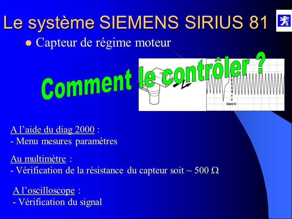 Le système SIEMENS SIRIUS 81  Capteur de régime moteur Rôle : - Informe le CCM de la position du PMH - Donne la vitesse de rotation du moteur au CCM