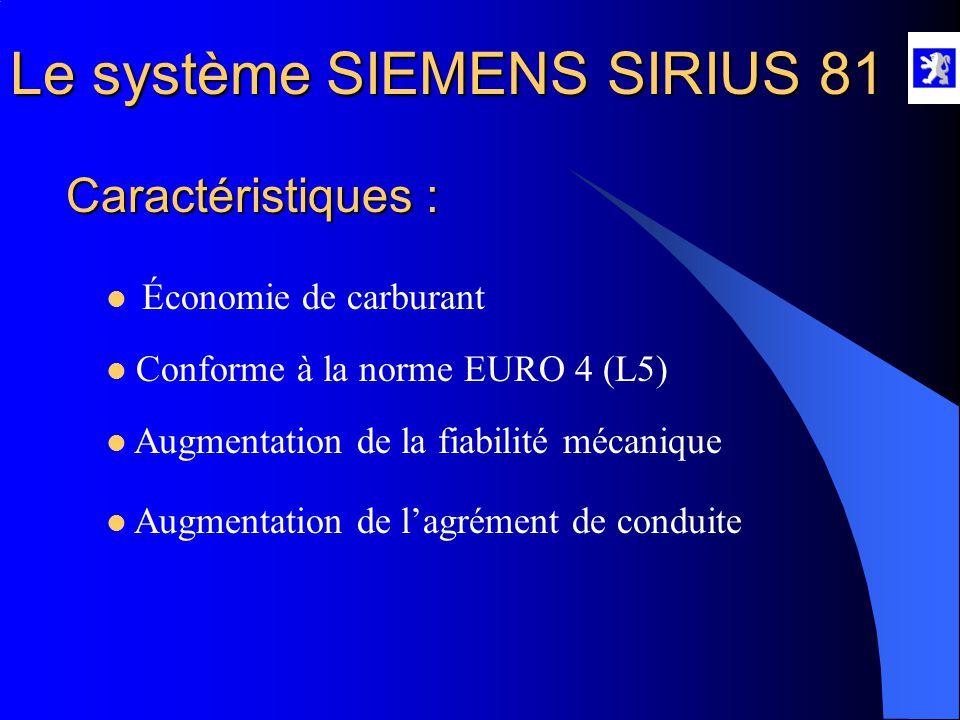Le système SIEMENS SIRIUS 81  La sonde à oxygène proportionnelle Type : C'est une sonde nouvelle de type proportionnelle.