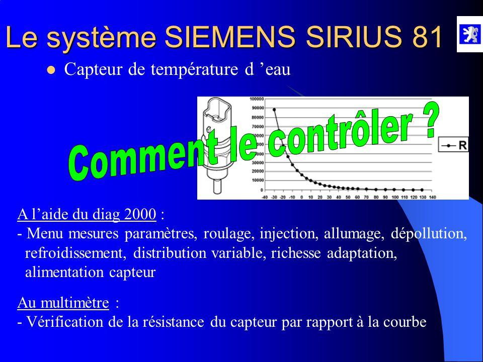 Le système SIEMENS SIRIUS 81 Rôle : - Fournit la température d 'eau moteur au CCM  Capteur de température d 'eau Propriétés : - C'est un capteur type