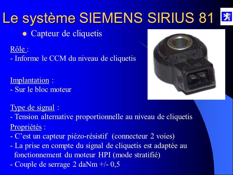 Le système SIEMENS SIRIUS 81  Capteur de température d 'eau A l'aide du diag 2000 : - Menu mesures paramètres, roulage, injection, allumage, dépollut