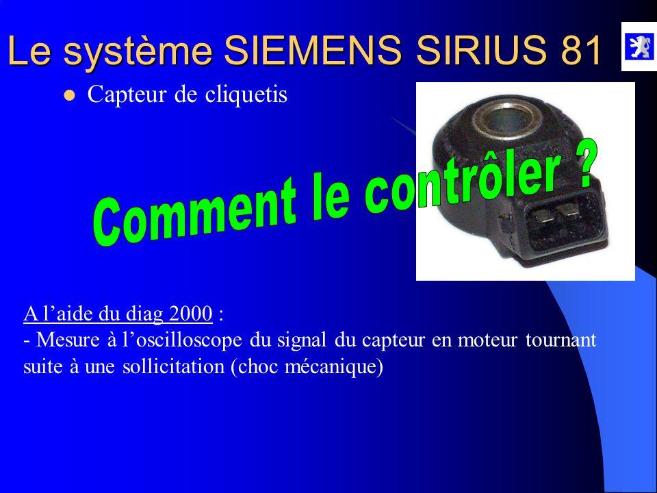 Le système SIEMENS SIRIUS 81 Rôle : - Informe le CCM du niveau de cliquetis  Capteur de cliquetis Propriétés : - C'est un capteur piézo-résistif (con