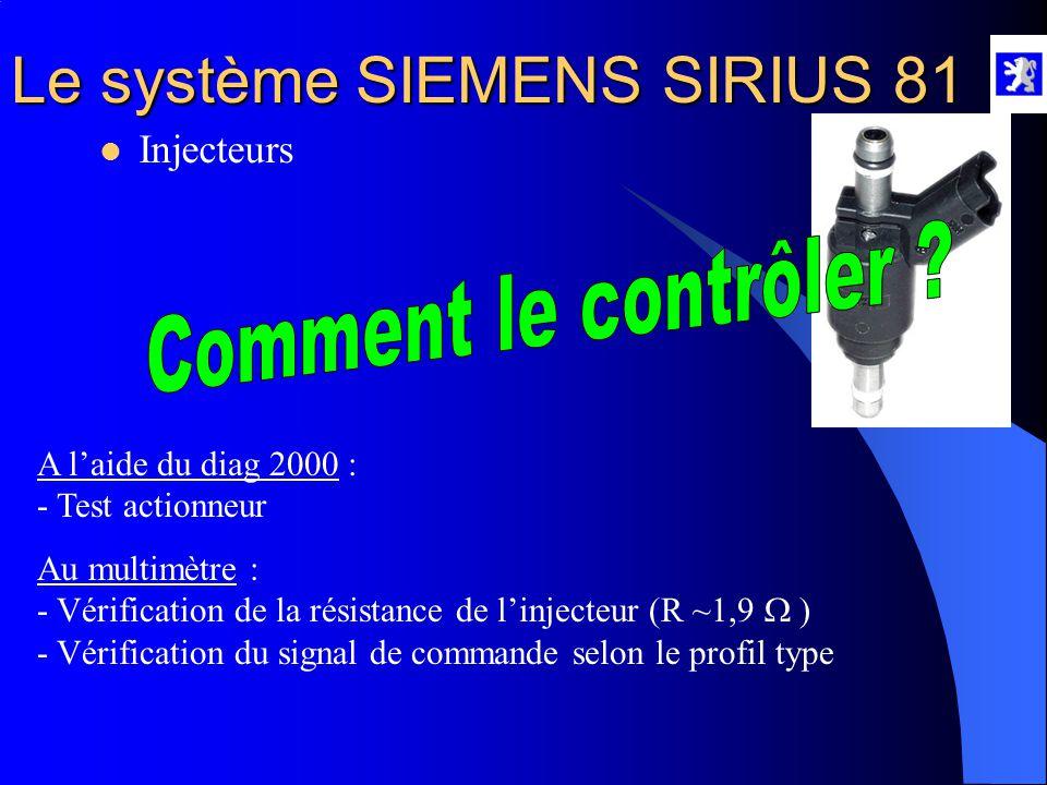 Le système SIEMENS SIRIUS 81 Rôle : - Pulvérise le carburant en micro gouttelettes sous la forme d'un jet conique  Injecteurs Propriétés : - C'est un