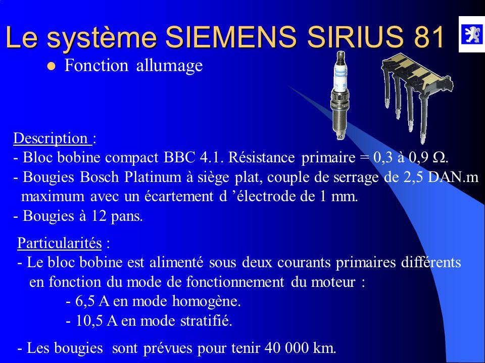 Le système SIEMENS SIRIUS 81  Commande des injecteurs