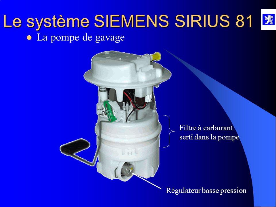Le système SIEMENS SIRIUS 81  Fonction alimentation en carburant Éléments participants : Pompe de gavage Amortisseur de pulsation Pompe HP Rail commu