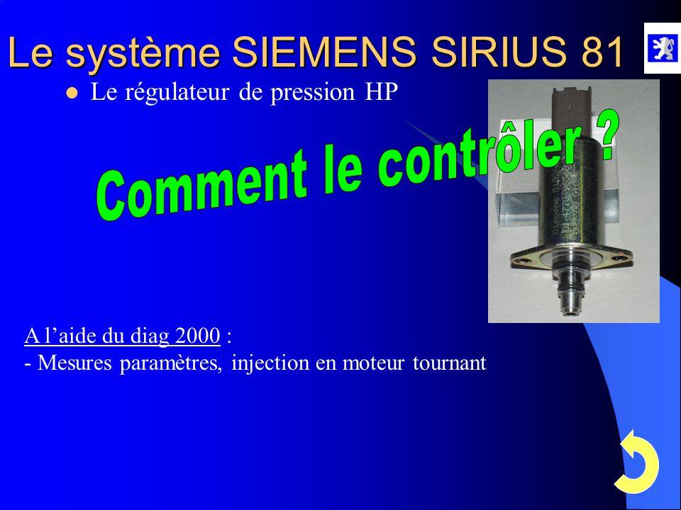 Le système SIEMENS SIRIUS 81  Le régulateur de pression HP