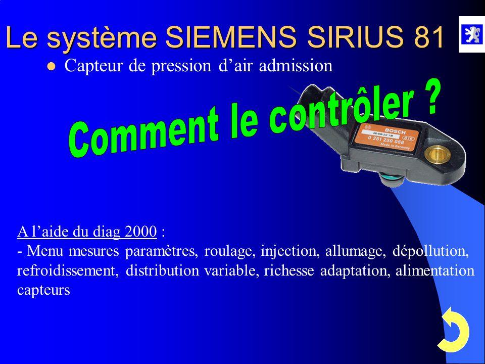 Le système SIEMENS SIRIUS 81  Capteur de pression d'air admission