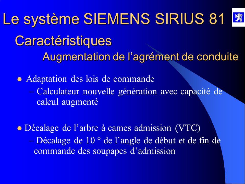 Le système SIEMENS SIRIUS 81  Les stratégies  Limites de fonctionnement du mode stratifié  Charge moteur > mi-charge  Déstockage du dioxyde de Soufre  Déstockage des Oxydes d'Azote  Problème de température trop élevée dans l'échappement  Besoin de dépression dans le circuit de frein