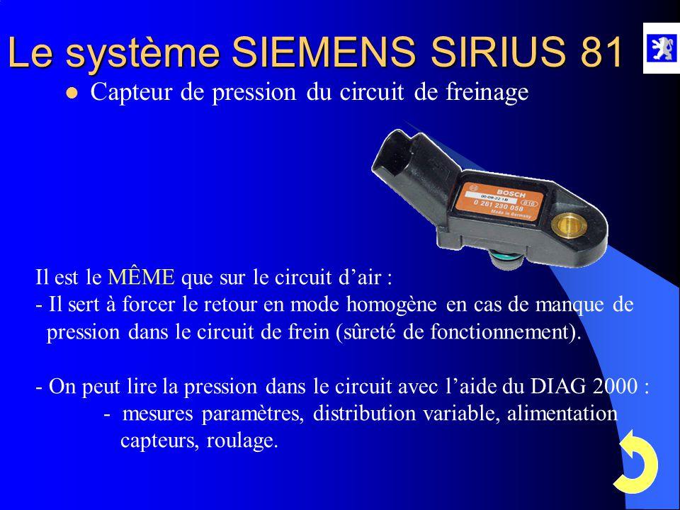 Le système SIEMENS SIRIUS 81  Capteur de pression d'air admission A l'aide du diag 2000 : - Menu mesures paramètres, roulage, injection, allumage, dé