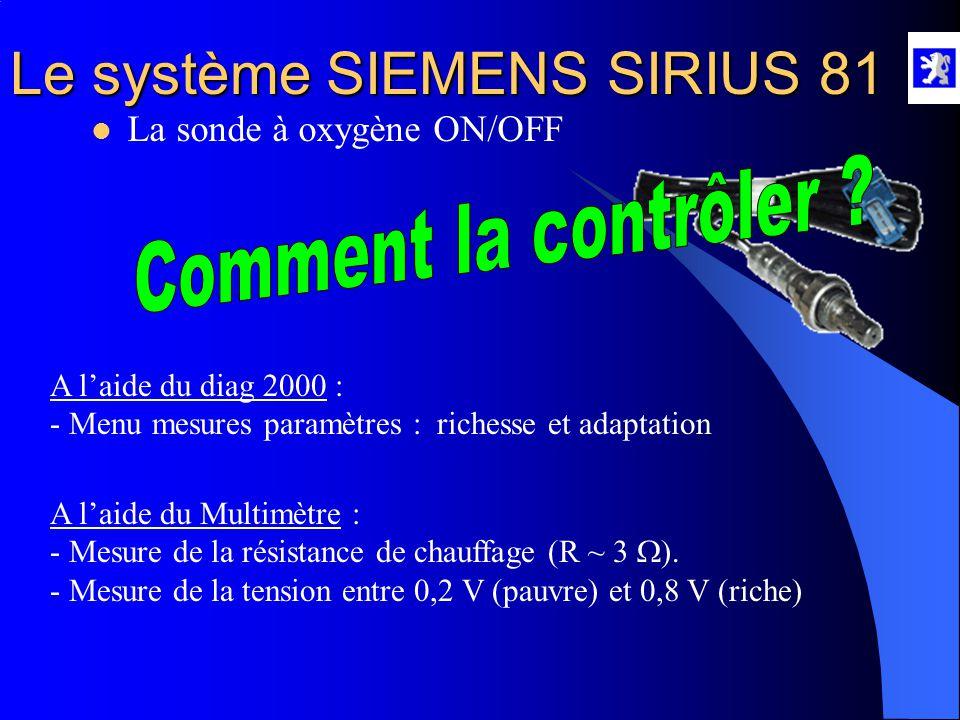 Le système SIEMENS SIRIUS 81  La sonde à oxygène ON/OFF Type : C'est une sonde dite ON/OFF. Rôle : Elle informe le calculateur moteur de l'état des g