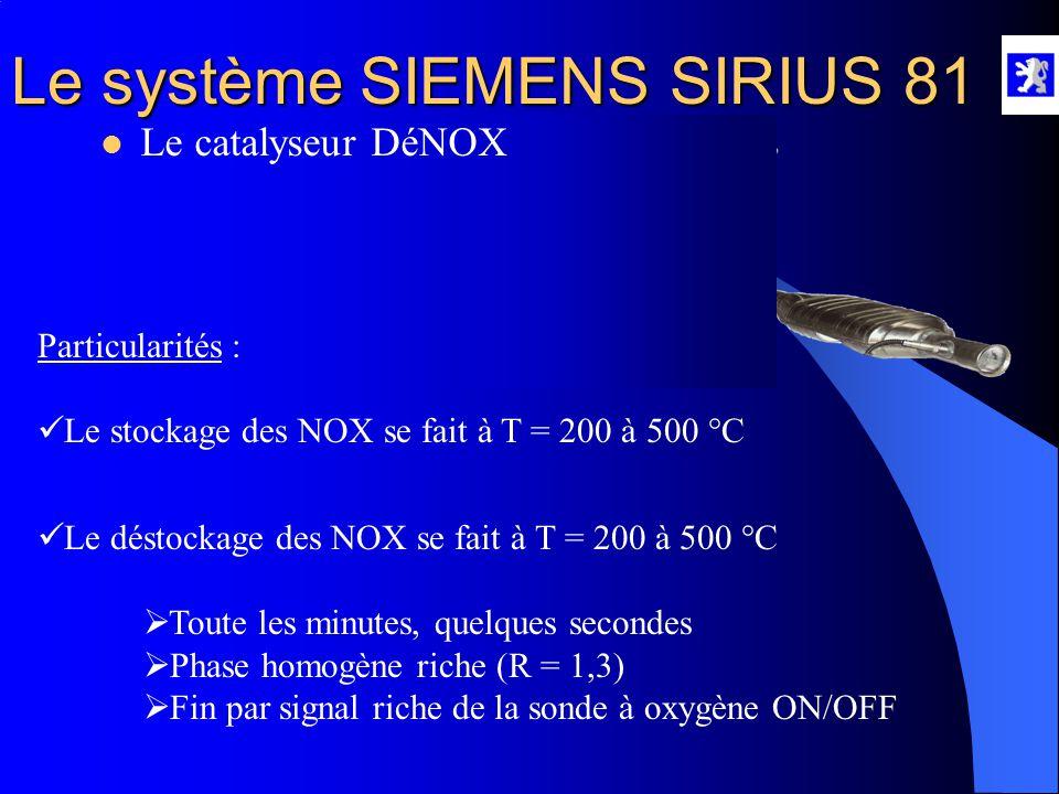 Le système SIEMENS SIRIUS 81 Rôle : - Il stocke les oxydes d'Azote (NOX) et les oxydes de soufre (SO2).  Le catalyseur DéNOX - Il régénère les oxydes