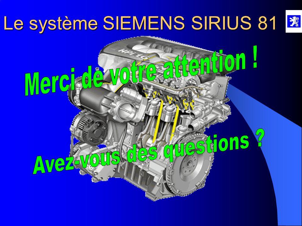 Le système SIEMENS SIRIUS 81  Initialisation du calculateur  Mettre le contact, attendre 20 secondes.  l faudra un temps de fonctionnement cumul