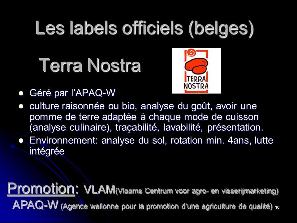 10 Terra Nostra  Géré par l'APAQ-W  culture raisonnée ou bio, analyse du goût, avoir une pomme de terre adaptée à chaque mode de cuisson (analyse culinaire), traçabilité, lavabilité, présentation.