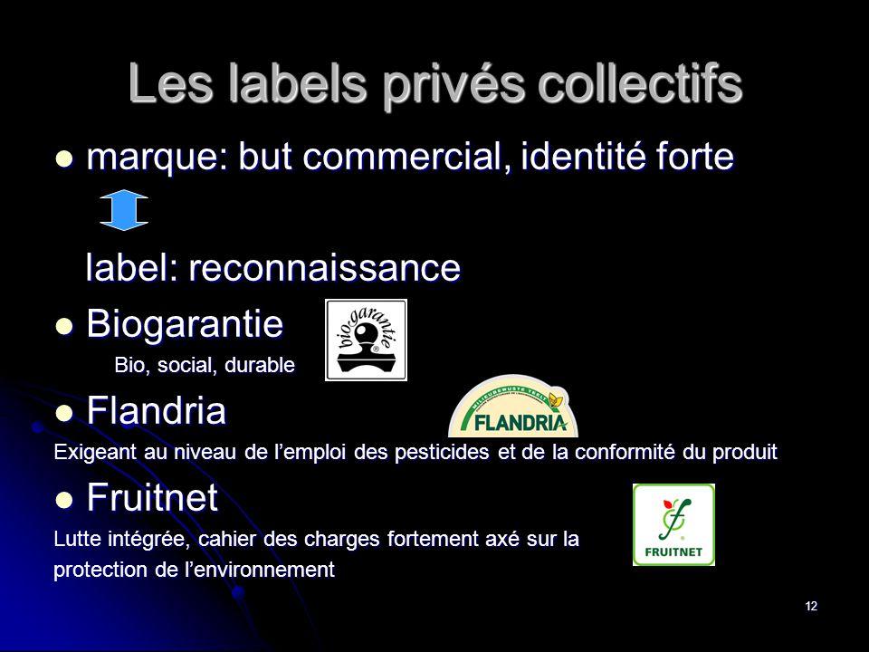 12 Les labels privés collectifs  marque: but commercial, identité forte label: reconnaissance label: reconnaissance  Biogarantie Bio, social, durabl