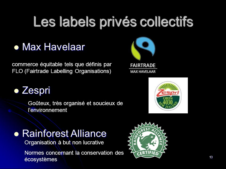 13  Max Havelaar  Zespri  Rainforest Alliance Les labels privés collectifs commerce équitable tels que définis par FLO (Fairtrade Labelling Organis