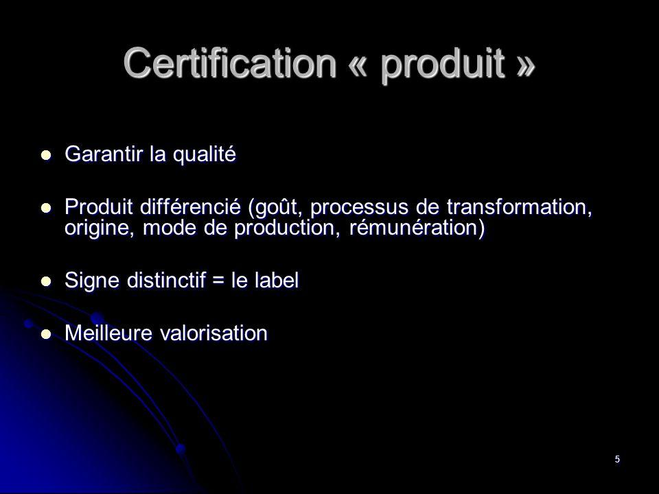 5 Certification « produit »  Garantir la qualité  Produit différencié (goût, processus de transformation, origine, mode de production, rémunération)  Signe distinctif = le label  Meilleure valorisation