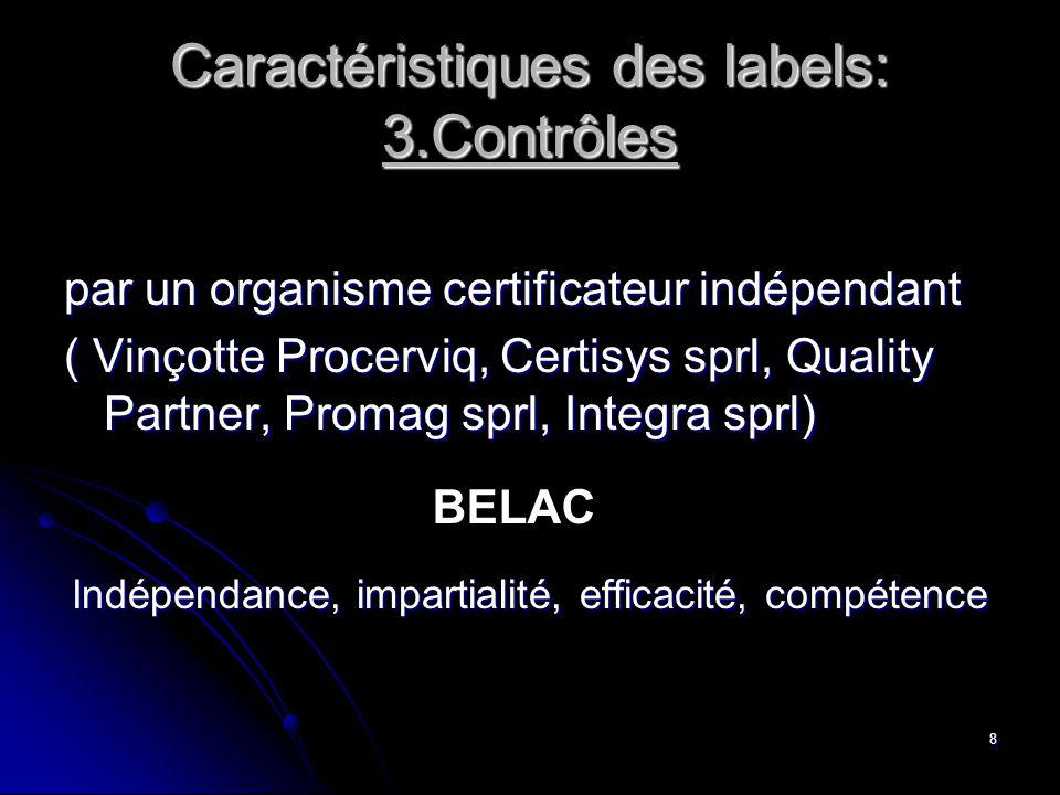 8 par un organisme certificateur indépendant ( Vinçotte Procerviq, Certisys sprl, Quality Partner, Promag sprl, Integra sprl) Indépendance, impartiali