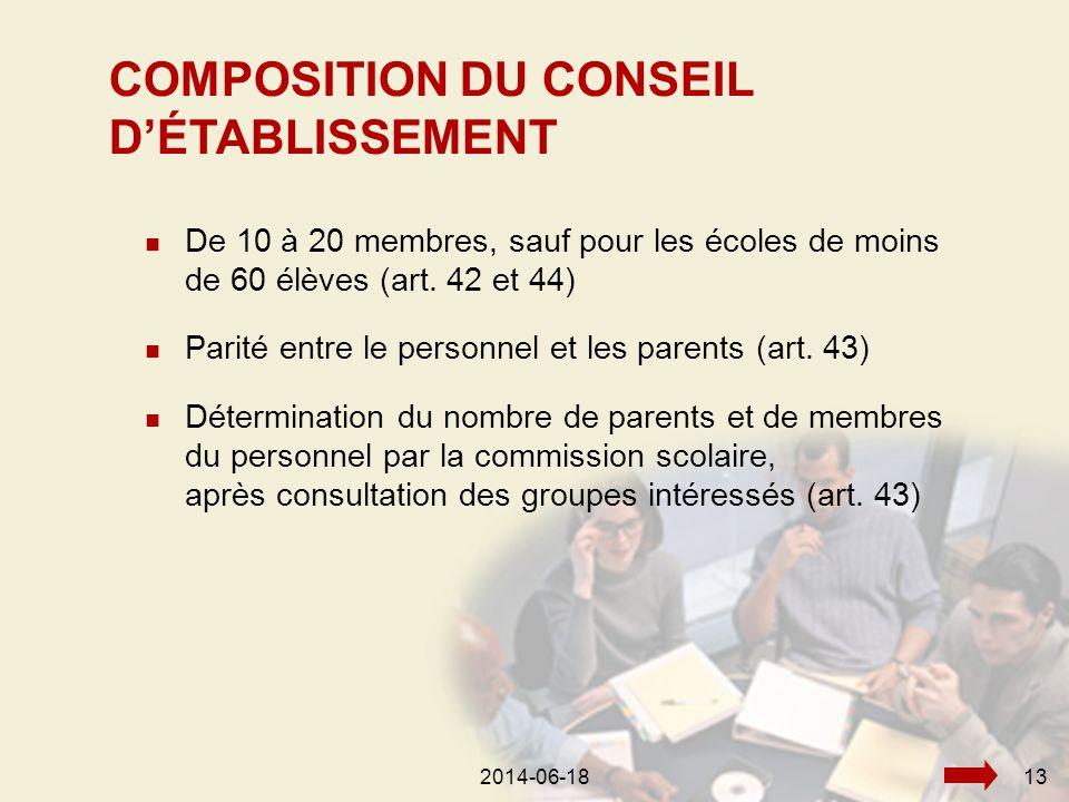 2014-06-18132014-06-1813  De 10 à 20 membres, sauf pour les écoles de moins de 60 élèves (art.
