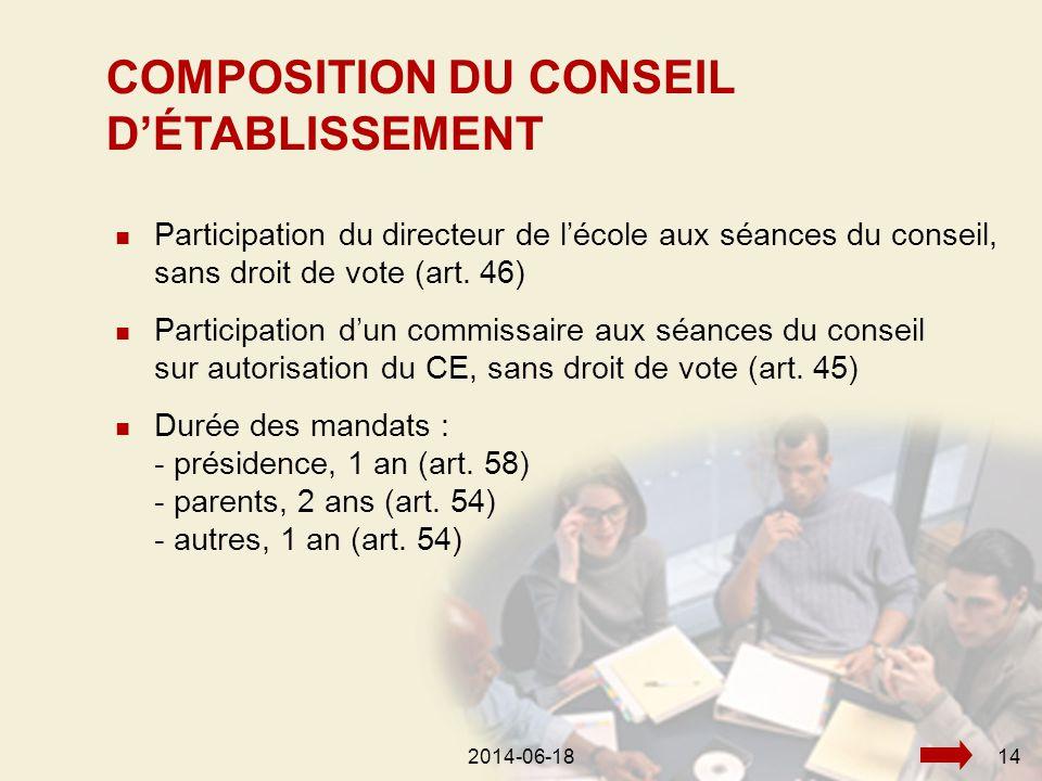 2014-06-18142014-06-1814  Participation du directeur de l'école aux séances du conseil, sans droit de vote (art.