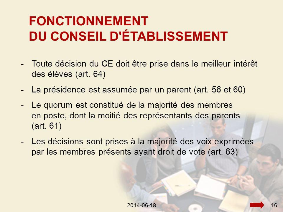 2014-06-18162014-06-1816 -Toute décision du CE doit être prise dans le meilleur intérêt des élèves (art.
