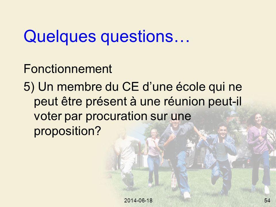 2014-06-1854 Quelques questions… Fonctionnement 5) Un membre du CE d'une école qui ne peut être présent à une réunion peut-il voter par procuration sur une proposition