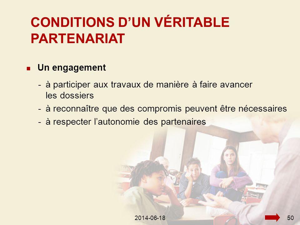2014-06-18582014-06-1850  Un engagement -à participer aux travaux de manière à faire avancer les dossiers -à reconnaître que des compromis peuvent être nécessaires -à respecter l'autonomie des partenaires CONDITIONS D'UN VÉRITABLE PARTENARIAT