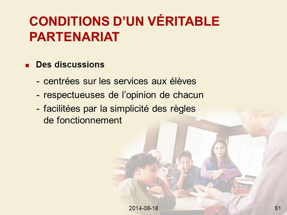 2014-06-18592014-06-1851  Des discussions -centrées sur les services aux élèves -respectueuses de l'opinion de chacun -facilitées par la simplicité des règles de fonctionnement CONDITIONS D'UN VÉRITABLE PARTENARIAT