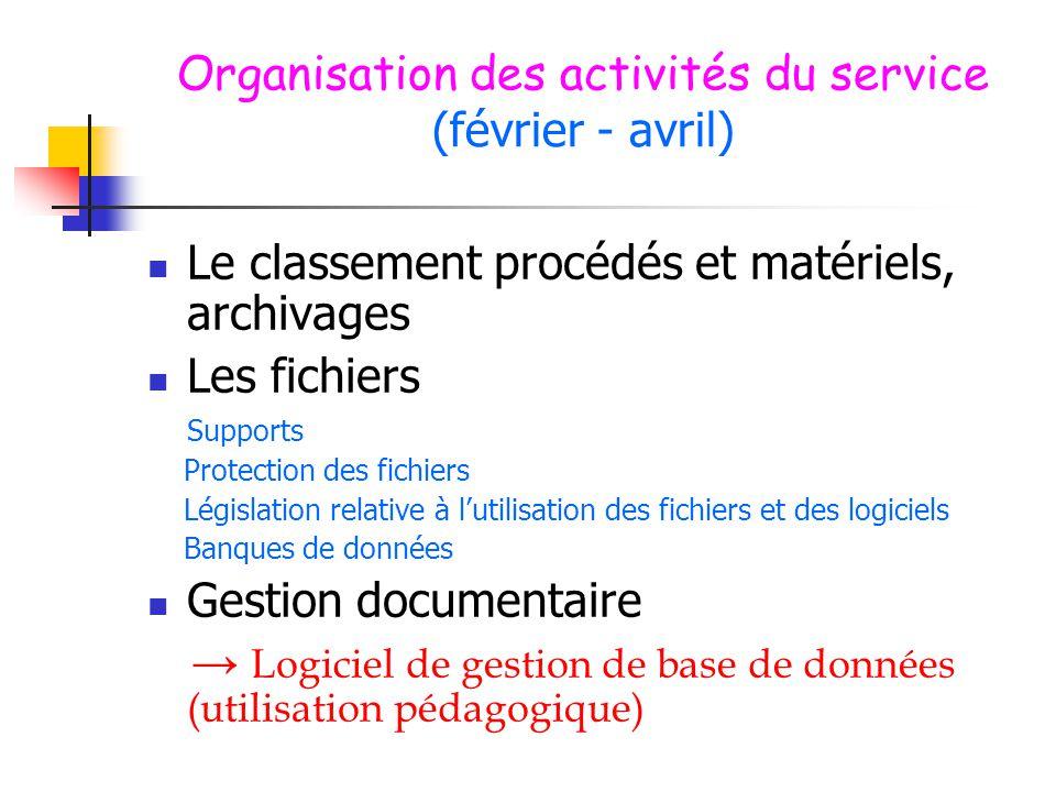 Organisation des activités du service (février - avril)  Le classement procédés et matériels, archivages  Les fichiers Supports Protection des fichi