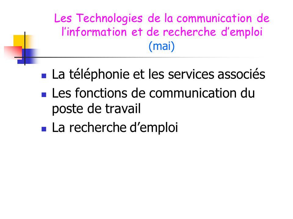 Les Technologies de la communication de l'information et de recherche d'emploi (mai)  La téléphonie et les services associés  Les fonctions de commu