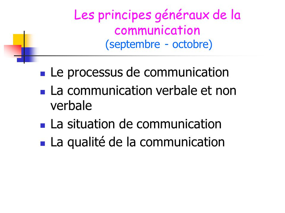 Les principes généraux de la communication (septembre - octobre)  Le processus de communication  La communication verbale et non verbale  La situat