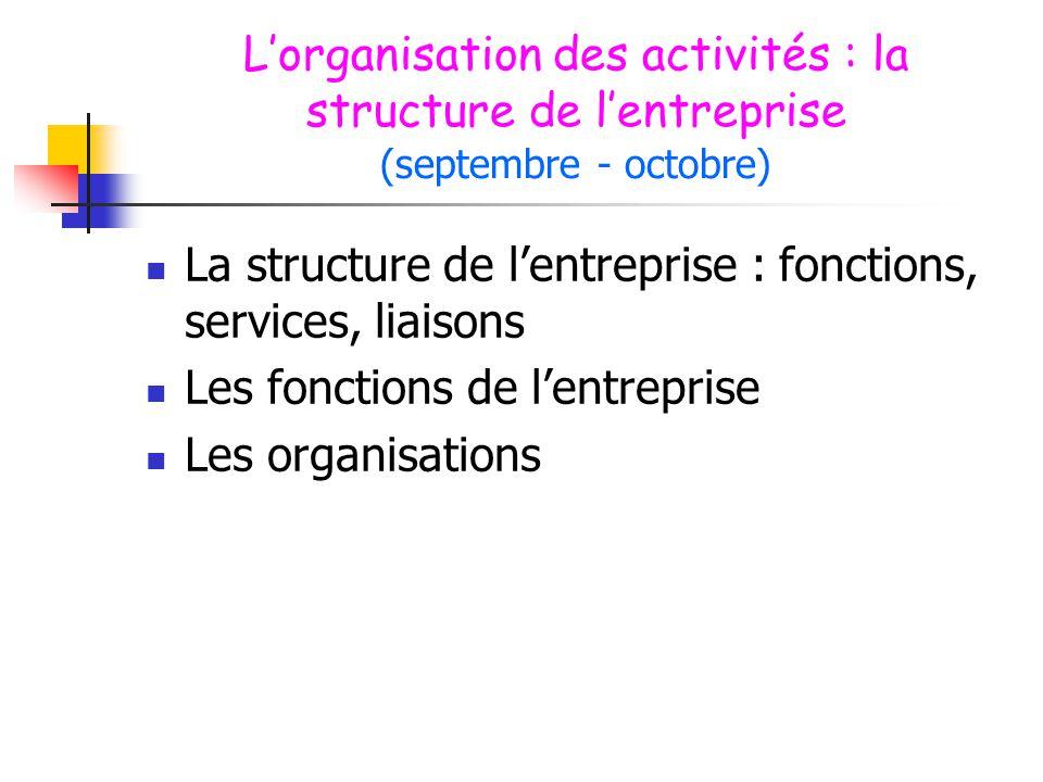 L'organisation des activités : la structure de l'entreprise (septembre - octobre)  La structure de l'entreprise : fonctions, services, liaisons  Les