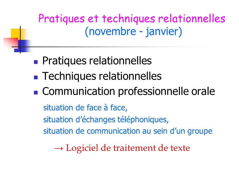 Pratiques et techniques relationnelles (novembre - janvier)  Pratiques relationnelles  Techniques relationnelles  Communication professionnelle ora