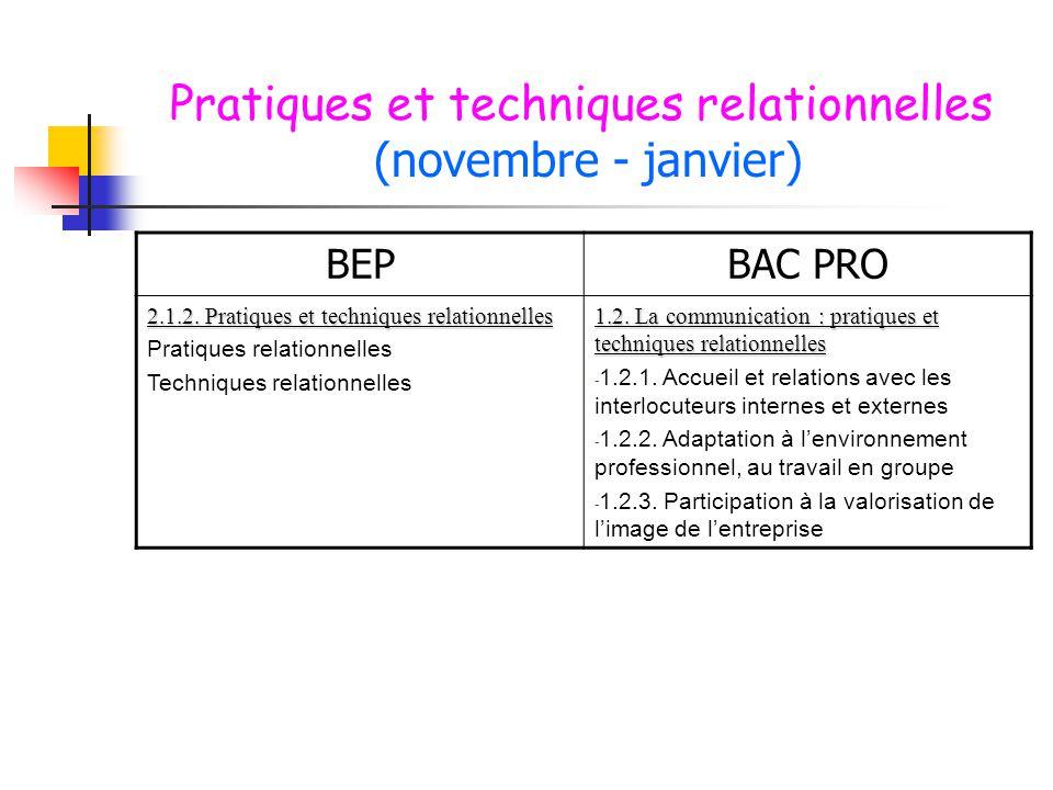 Pratiques et techniques relationnelles (novembre - janvier) BEPBAC PRO 2.1.2. Pratiques et techniques relationnelles Pratiques relationnelles Techniqu
