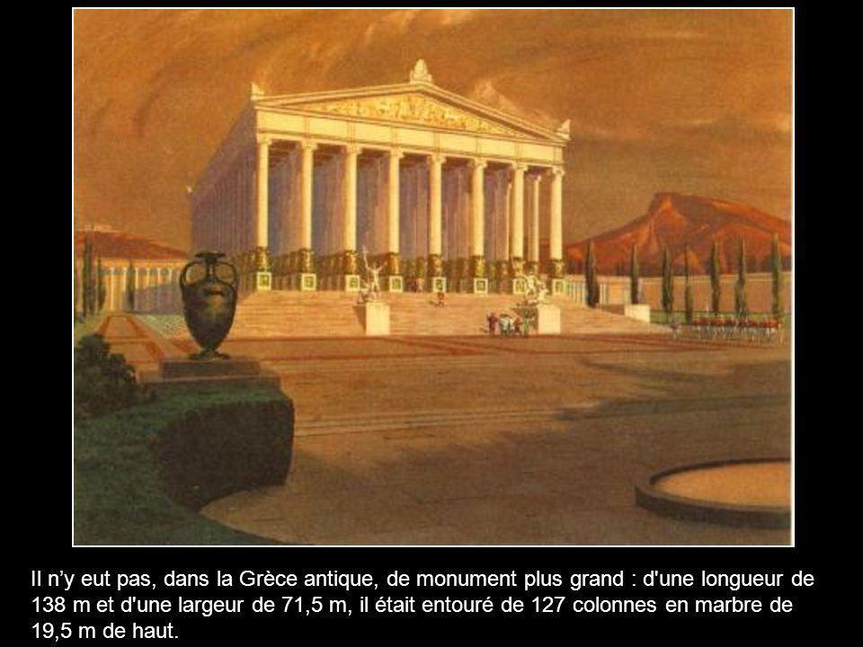 Le Temple se situait en Turquie, dans l'ancienne ville d'Ephèse qui s'appelle aujourd'hui Selcuk. Sa construction débuta en -560 et se termina en -440