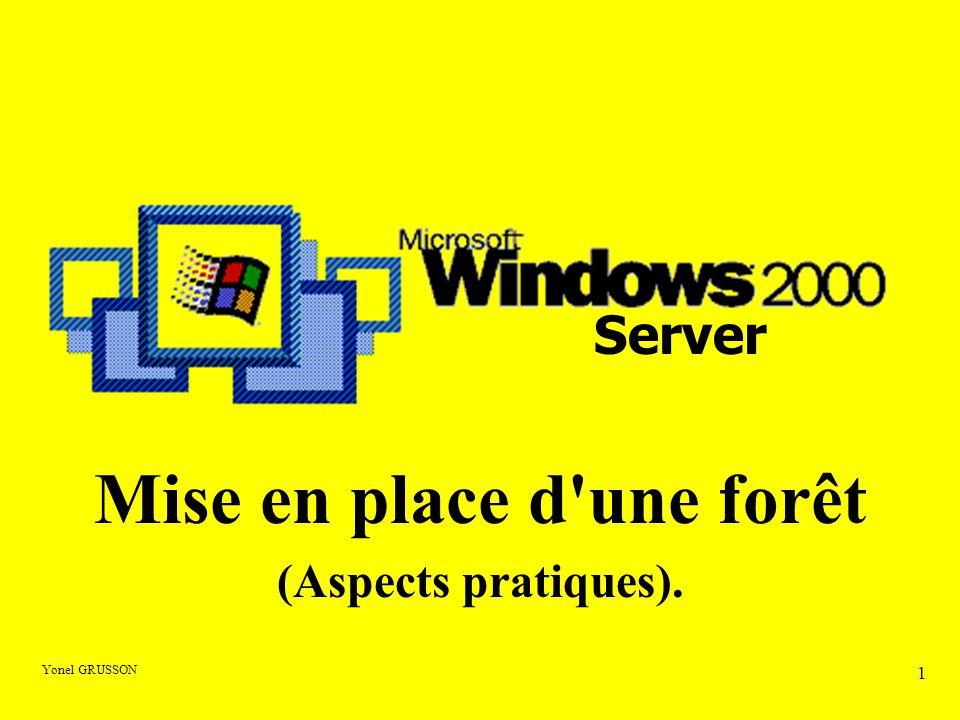 Yonel GRUSSON  La mise en place d un domaine Windows 200x passe par l installation :  D un annuaire appelé par Microsoft Active Directory  D un serveur DNS (Le serveur DHCP n est pas nécessaire dans un premier temps) L Active Directory
