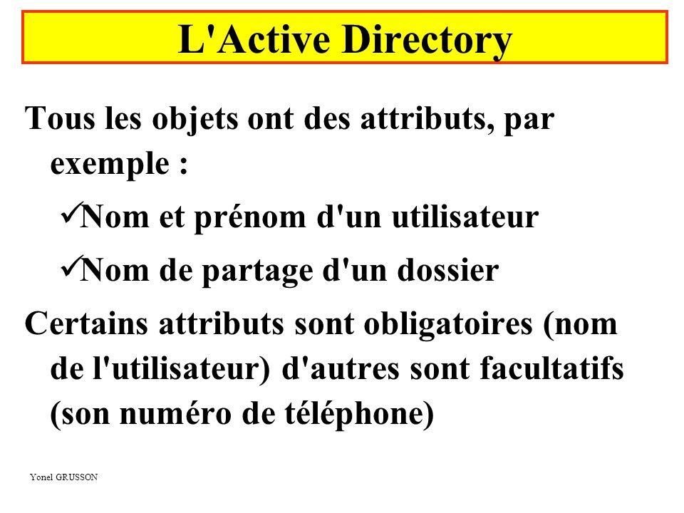 Yonel GRUSSON Tous les objets ont des attributs, par exemple :  Nom et prénom d'un utilisateur  Nom de partage d'un dossier Certains attributs sont
