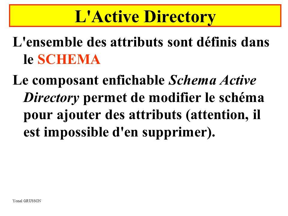 Yonel GRUSSON L'ensemble des attributs sont définis dans le SCHEMA Le composant enfichable Schema Active Directory permet de modifier le schéma pour a